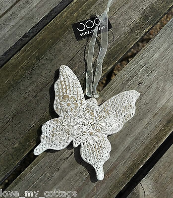 Shabby Chic White floral BUTTERFLY Hanger Hanging Decoration Wedding Favor Gift