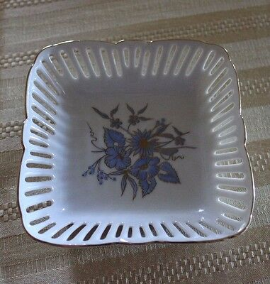Reutter Square Reticulated Porcelain Dish