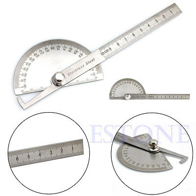 Stainless Steel Round Head Rotary Protractor Angle Finder Rule Measure Tool Kit