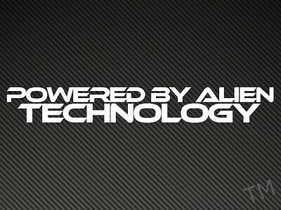 Powered By Alien Technology (Solid Style) Funny Car, Van Sticker UFO