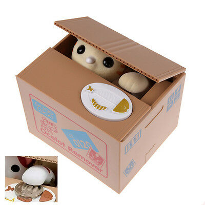 Lovely Cute Cat Automated Stealing Coins Saving Money Box Piggy Bank Jar Gift