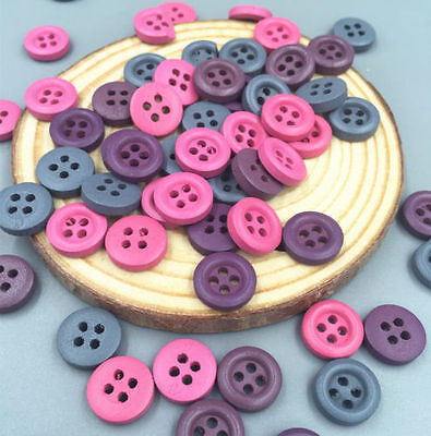 100pcs Mini Mixed Colors Wooden Buttons Sewing Scrapbooking 4 hole Crafts 12mm