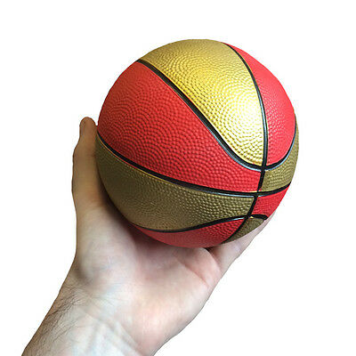 Mini Red & Gold Basketball Indoor Outdoor Sports - Kids Boys Toy Small Ball Gift