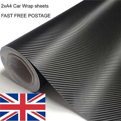 3D CARBON FIBRE DECAL VINYL SHEET WRAP STICKER AIR BUBBLE FREE CAR BIKE A4 x 2
