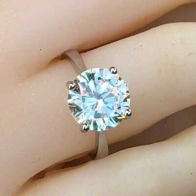3.8ct (10mm) Solitaire Simulated Diamond Real 925 Silver Engagement Wedding Ring