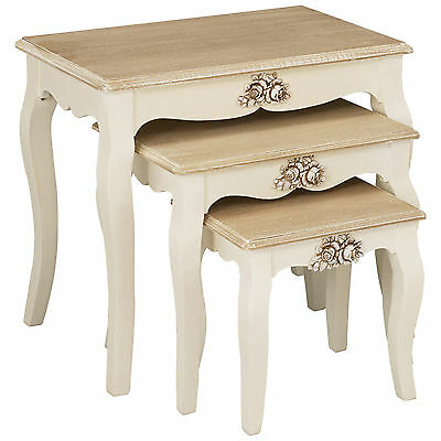 Cream & Wood Finish Nest of 3 Piece Coffee End Lamp Side Table Set