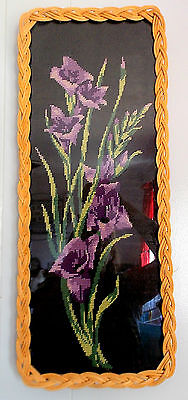 Lovey French Framed Needlepoint Tapestry 'Beautiful Purple Flowers' Home Decor