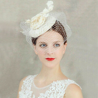 Bridal Lace Birdcage Veil Fascinator Headpieces Wedding Ivory Top Hat Handmade