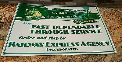 """Vtg Repro """"railway Express Agency, Inc """" Tin Sign 10 X 14 Minor Scratches"""