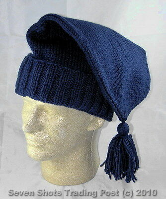 Handmade Knitted Voyager Hat - Navy Blue - Rendezvous - Trapper- Reenactor -NEW