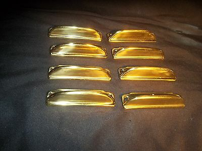 Vtg Steampunk Modern Drawer Pulls Gold Tone Industrial Knobs , 8 count