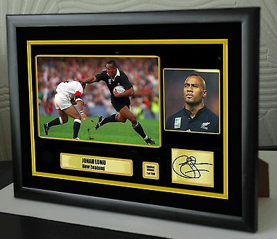 "Jonah Lomu All Black Rugby Union Framed Canvas Tribute Print Signed ""Great Gift"""