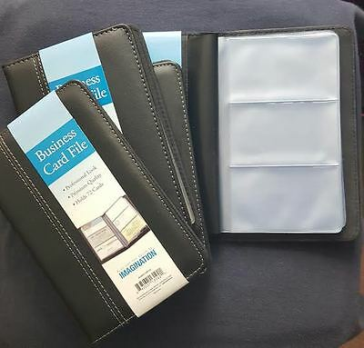 Business Card Case File Holder  Holds 72  Black with White NEW !