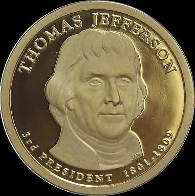 "2007 S Thomas Jefferson Presidential Dollar Gem Deep Cameo ""PROOF"" US Mint Coin"