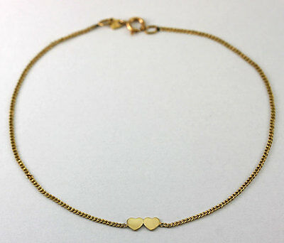 """14k Yellow Gold Double Heart Curb Chain Anklet Ankle Bracelet 8.5"""""""