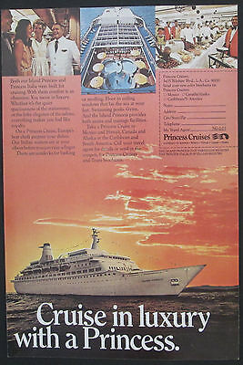 Cruise In Luxury With A Princess  Original 1973 Vintage Ad