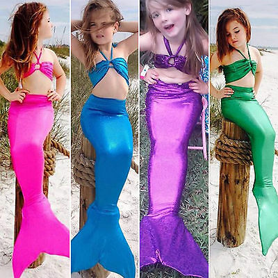3PCS Girl Kids Mermaid Tail Swimmable Bikini Set Bathing Suit Fancy Costume 3-8Y