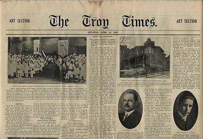 1915 Troy NY Times Newspaper Section - Theta Chi Fraternity Convention in Troy
