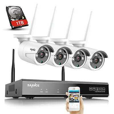 SANNCE 1080P 8CH Wireless NVR Wifi IP 3000TVL Home Security Cameras System 1T HD