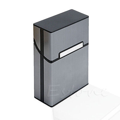 Aluminum Metal Cigar Cigarette Box Holder Pocket Tobacco Storage Case Black