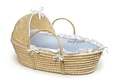 Natural Baby Infant Moses Basket w/Hood Blue Gingham NEW