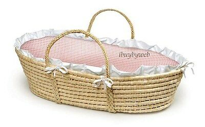 Natural Baby Infant Moses Basket Pink Gingham Bedding NEW