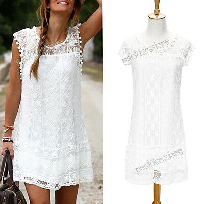 Sexy Women Summer Sleeveless Lace Casual Party Cocktail Short White Mini Dress