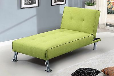 Modern Chaise Lounge Click Clack Single Sofa Bed Chair Lime Green Grey Fabric