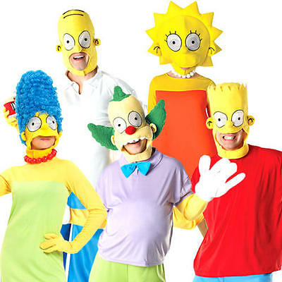 Deluxe Simpsons Adults Fancy Dress TV Show Cartoon Mens Ladies Womens Costumes