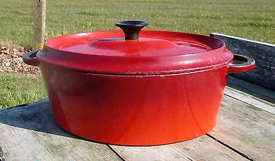 vintage French Le Creuset Style Red Cast Iron Dutch Oven Casserole 29