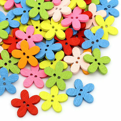200pcs Wooden Buttons Flowers Sewing Scrapbooking Flowers Shaped 2 Holes Mixed