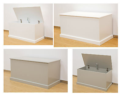 Large Wood Ottoman Storage Chest Trunk Blanket Box with Lid White Grey Painted M