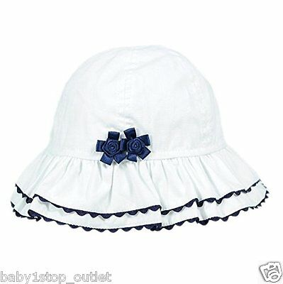 Baby Girls White & Navy Sun Hat & Navy Flowers Cotton Age 0-3 3-6 Months R0043