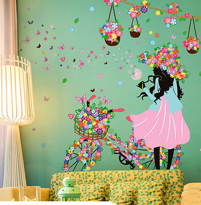 MURAL Flower Butterflies Room Wall Art Sticker Decal Hall Home Decor Reusable