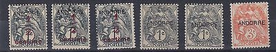 French Andorra 1931    S G F1 -F4  Various Values  M / H