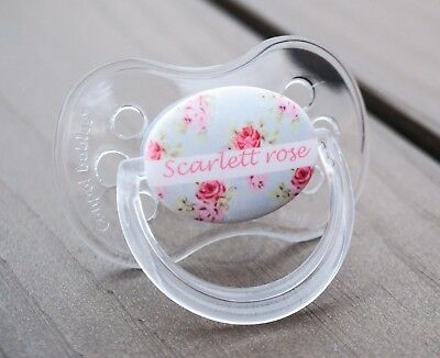 Personalised Dummy Pacifier Soother, All Teats,Sizes & Colours, Floral