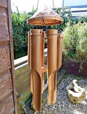 Hand Carved Made Extra Large Garden Bamboo Padi Hat Windchime Mobile Wind Chime