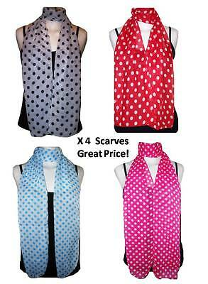 Wholesale Lot of 4 Polka Dot Chiffon Scarves
