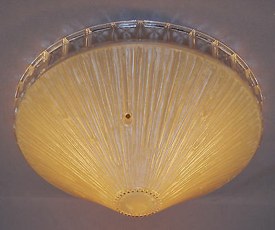 Vintage Antique Glass Clear Ring Shade Ceiling Light Fixture 3-hole Hangers