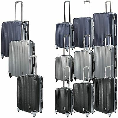 Luggage Set Hard Stipe Trolley Suitcase Spinner Wheels Cabin TSA Security Lock