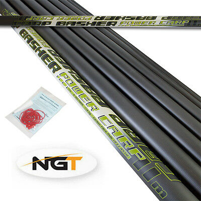 NEW NGT Carp Basher 11m Full Carbon Carp Fishing Pole+Spare Top 3 & Elastic Kit