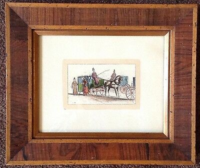 antique 19th century hand tinted lithograph ladies carriage English? Wood Frame