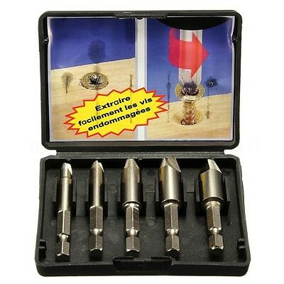 2016 5PCS Easy Speed Out Screw Extractor Remover Drill Tool Set 1/4″Hex Shank