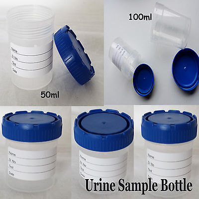 Specimen Disposable 50ml 100ml Plastic Urine Sample Jar Cap Art Craft Pot