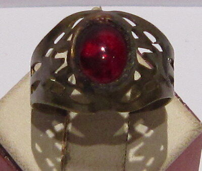 VINTAGE NICE BRONZE RING WITH RED STONE FROM THE EARLY 20th CENTURY # 66A