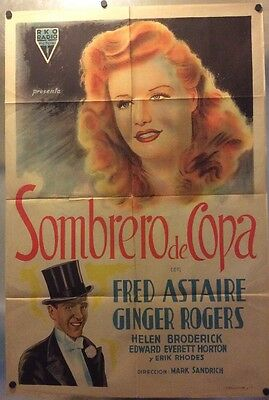 Original Vintage Argentinean Top Hat Movie Poster  Ginger Rogers Fred Astaire