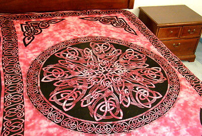 CELTIC Knot MANDALA Red Hippie TAPESTRY Medieval Wicca  Wall Hanging Bedspread