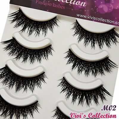 5 Pairs Thick Long Black False Eyelashes Criss-Cross Fake Eye Lashes - M02