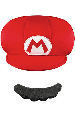 Brand New Super Mario Brothers Mario Child Hat and Moustache Accessory