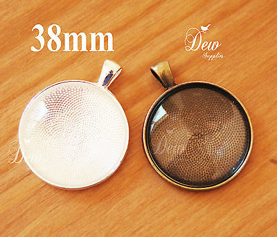 6 x 38mm Round Pendant Trays with Matching Glass Dome Inserts DEWSUPPLIES